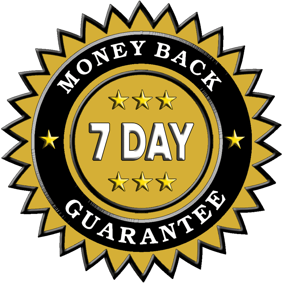 7 Day Guarantee, 3 Way 7 Day Guarantee, Money Back Guarantee, Satisfaction Guaranteed